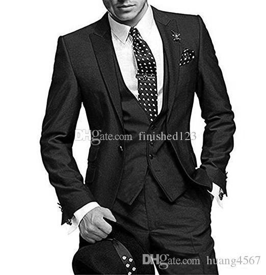 새로운 클래식 스타일 원 버튼 블랙 웨딩 신랑 턱시도 피크 옷깃 Groomsmen 남성 복장 댄스 파티 블라우스 (자켓 + 바지 + 조끼 + 넥타이) 208