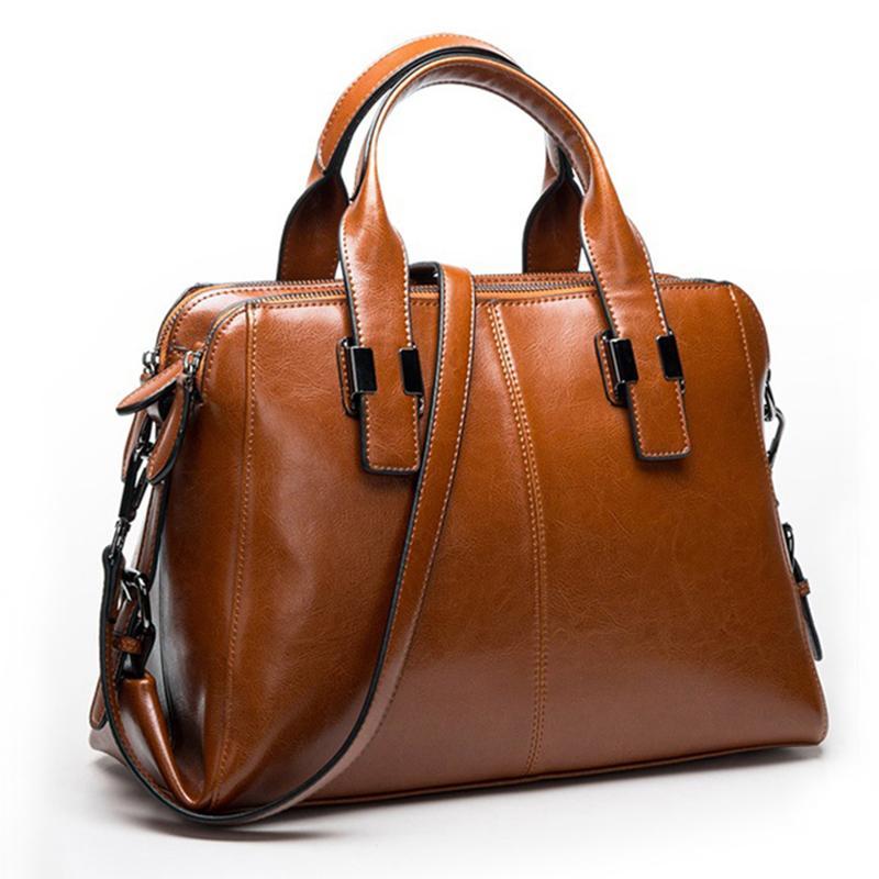 Кожа Сумки женских Женщины Totes Сумка Сумка Hign сумка качество (коричневая)