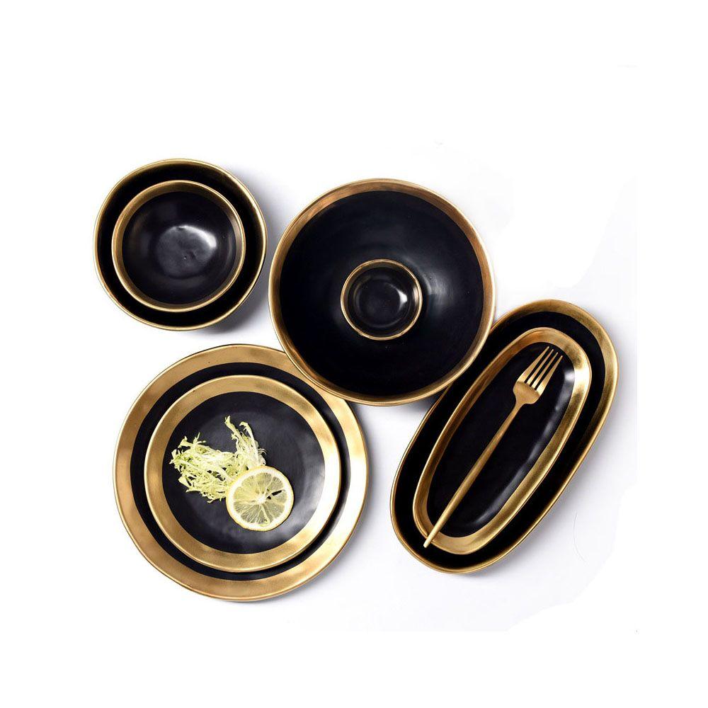 لوحات اليدوية المعاصرة تموج تصميم الذهب انعقدت السيراميك أواني الإبداعية عشاء خدمة طبق سلطة السلطانيات أسود أبيض