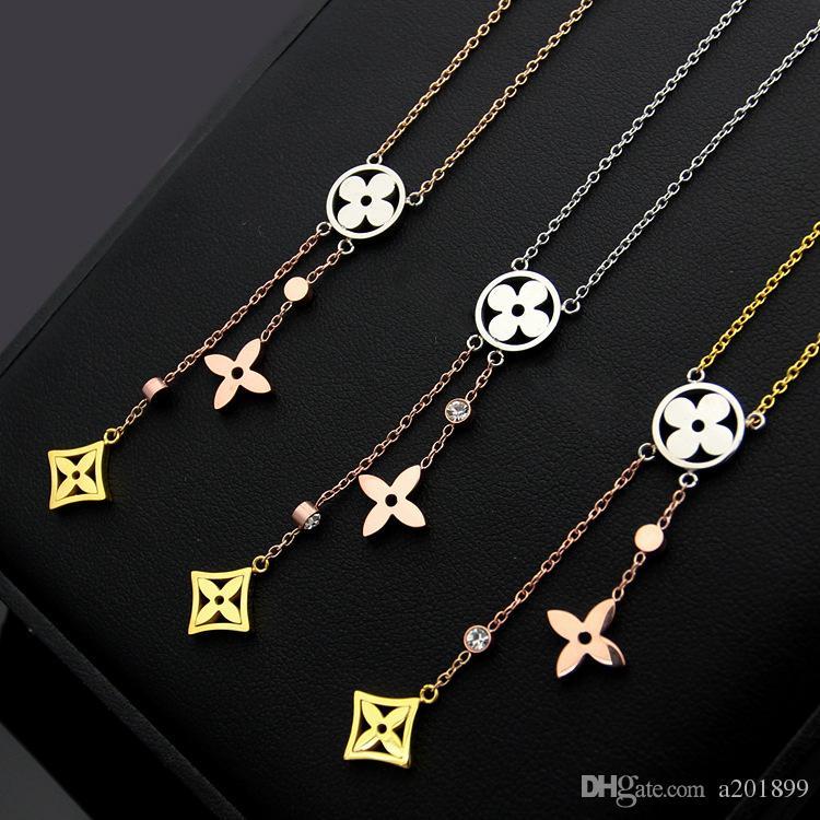 V письмо вырез четыре листа цветок кисточкой цвет ожерелье дамы три цвета четыре листа клевера ожерелье