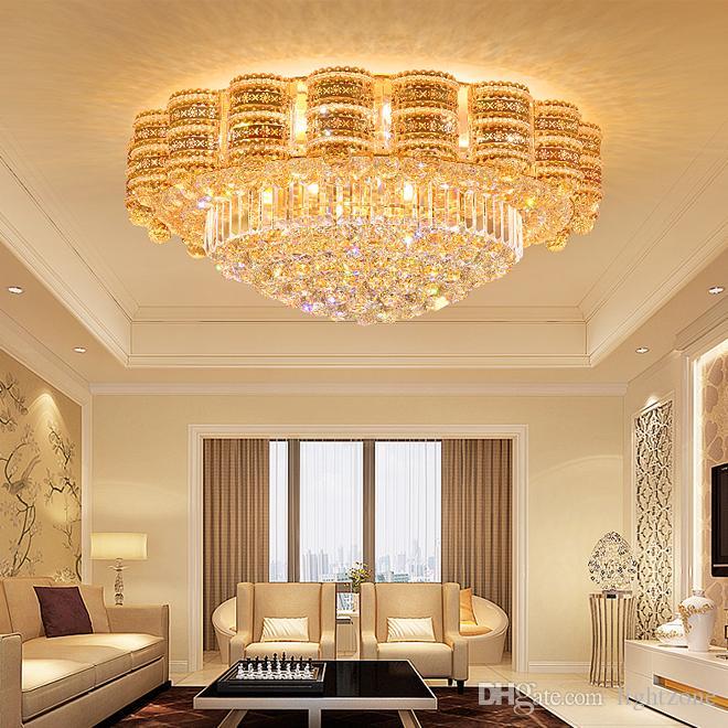 الثريا الكريستال الإضاءة الذهبية الفاخرة من الدرجة العالية K9 الكريستال جولة مصباح الثريا بهو الفندق فيلا بقيادة أضواء الثريات السقف