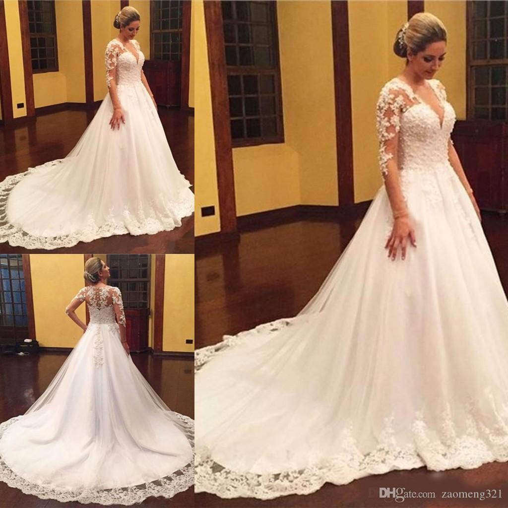 El más nuevo con cuello en v una línea de vestidos de novia de manga larga corte tren apliques botón abalorios espalda vestidos de novia vestidos de novia Vestido De Novia