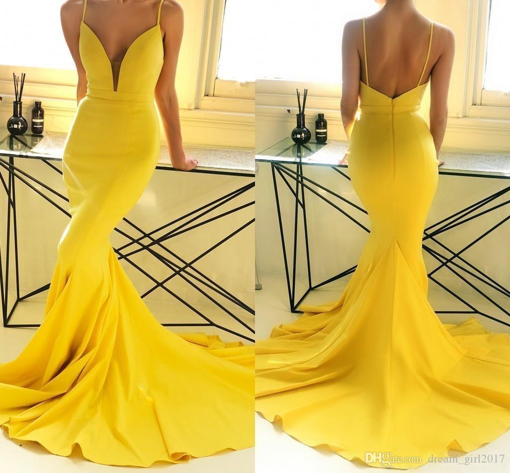 2019 Yellow Cheap Mermaid Prom Dresses Long Spaghetti Straps Backless Sweep Train Formal Dress Evening Gowns Vestidos de fiesta largos