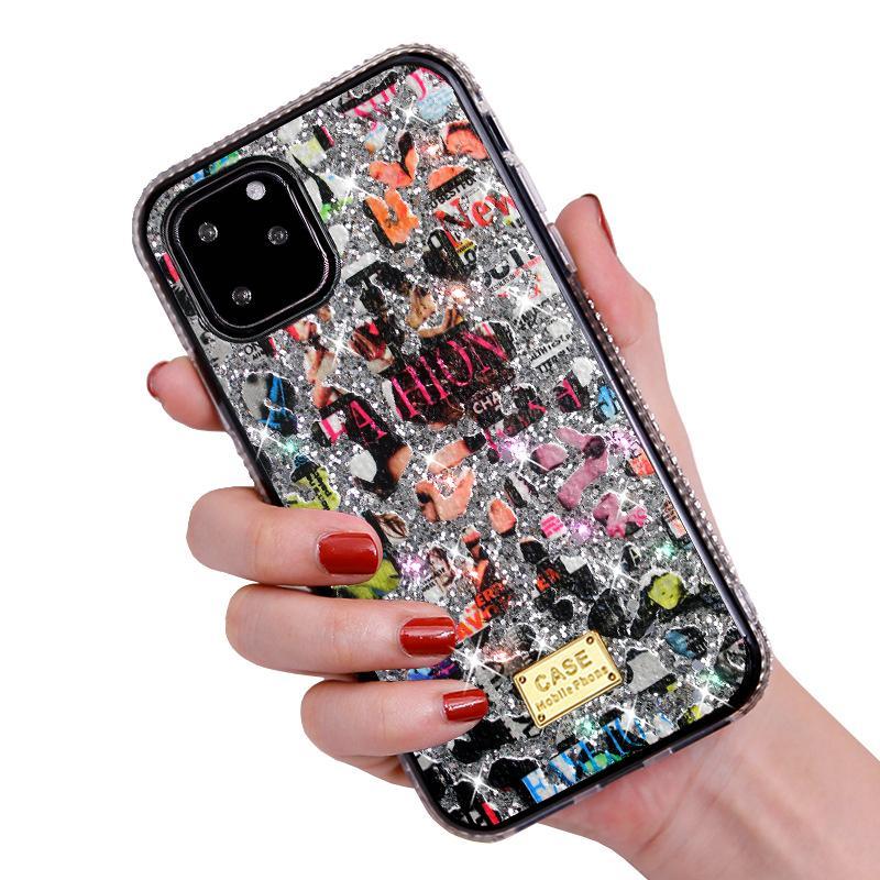 Nouveau pour l'iphone 12 mini 11 x pro xr xs max 8 7 6 plus téléphone cellulaire bling bling strass bande dessinée Coque arrière Scrawl design créatif