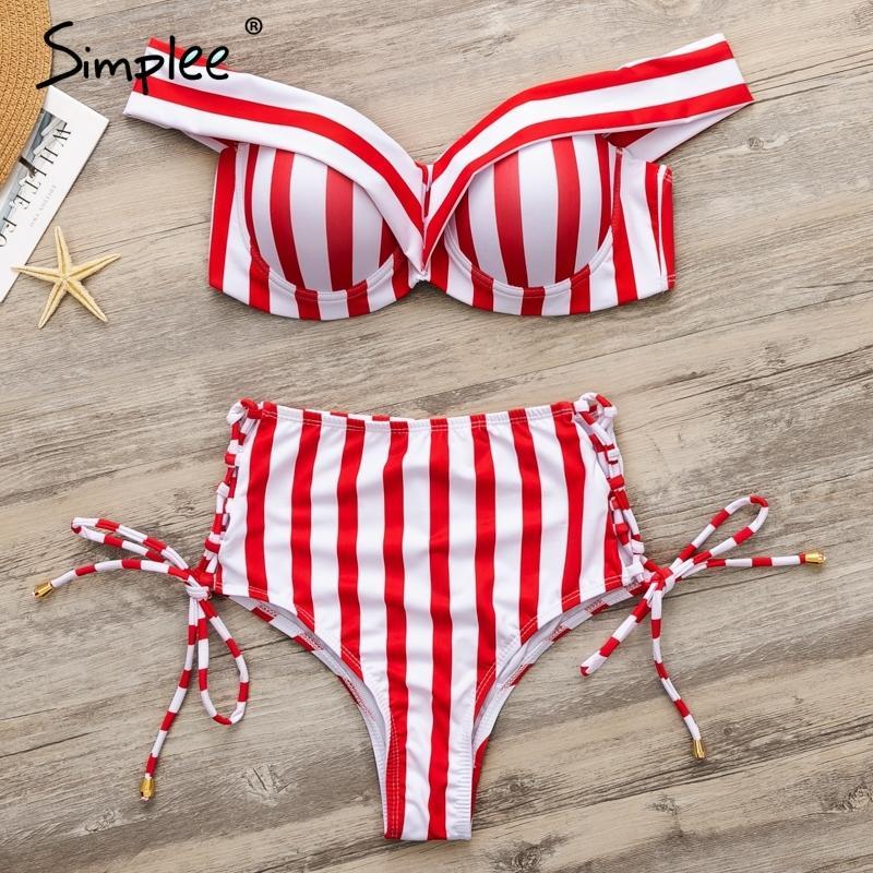 Simplee Sexy Rayé deux pièces Femmes Bikini Ensemble Push up Dentelle Up Maillots De Bain Taille Haute d'été Plage 2019 mujer maillot de bain