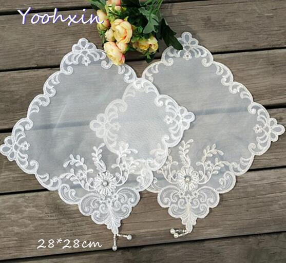 2020 Modern beads embroidery Placemat Table place Mat cloth tea Doily Cup dish coffee Coaster mug Christmas dining Pad kitchen T200703