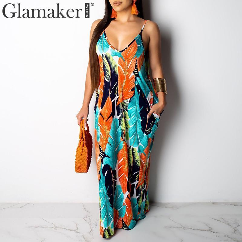 abito lungo abito sexy Glamaker soft donne chetinge foglia boho stampa del vestito elegante estate 2019 spiaggia retrò maxi vestito de fiesta Y200102