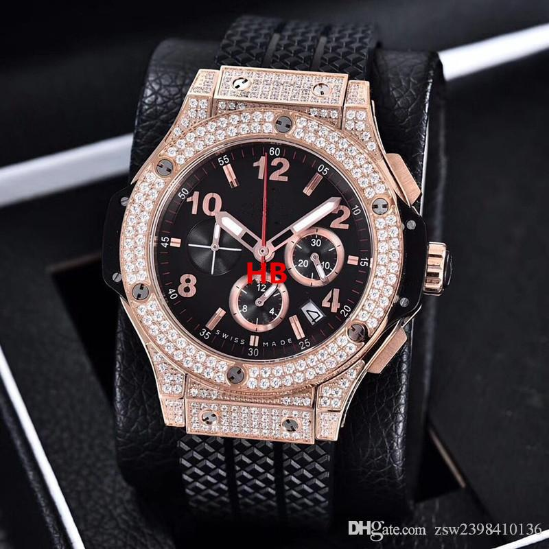Relógios Top Quality relógio de pulso Mens Marca New BigBang 44mm Evolução Rubber Diamond Watch relógio de quartzo Mens Watch Men