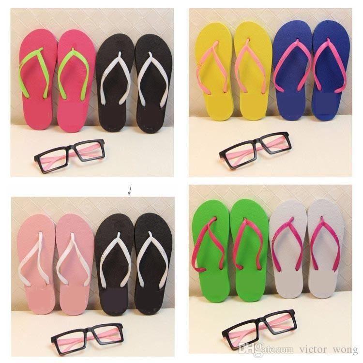 Misturar Cores Meninas Mulheres Rosa Preto Flip Flops Com Etiquetas Sandálias Chinelos de Praia Sapatos de Verão Macio Sandalias Chinelos de Praia 2 paris
