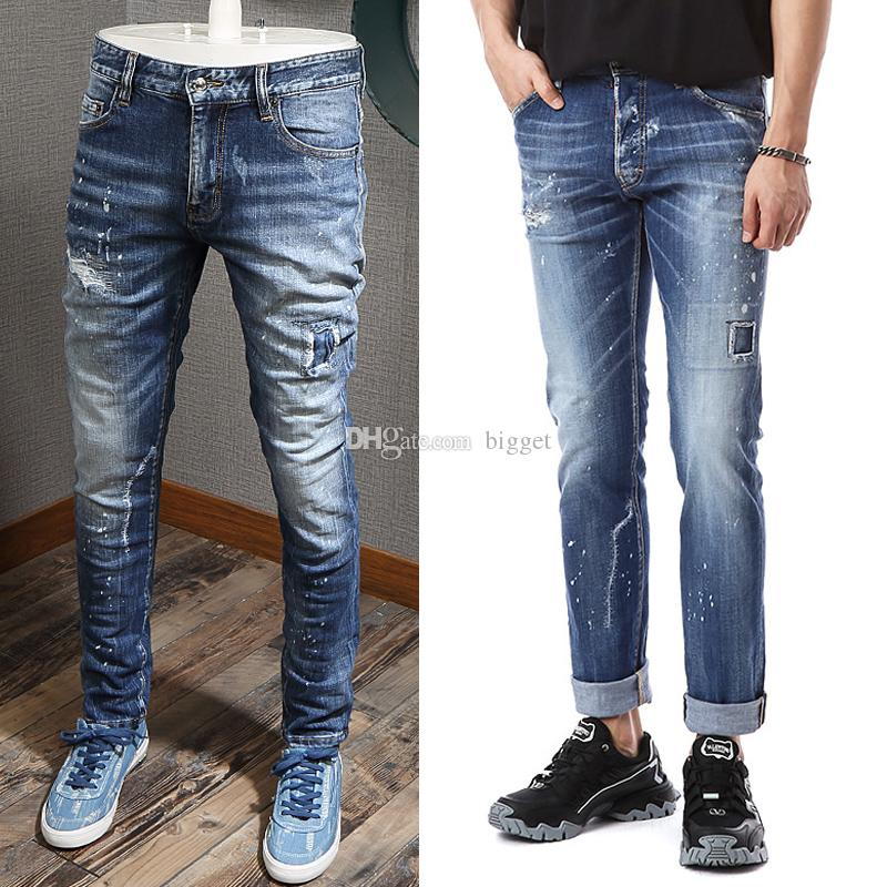 Blue Trim Fit Denim Jeans Men Fashion Design Slim Fit Distressed Letters Patches Cotton Jean Pants Man