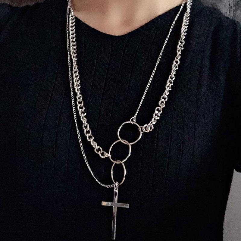 KMVEXO хип-хоп крест круг длинный кулон ожерелье для женщин многослойные звенья цепи колье ожерелья воротник ювелирные изделия партии