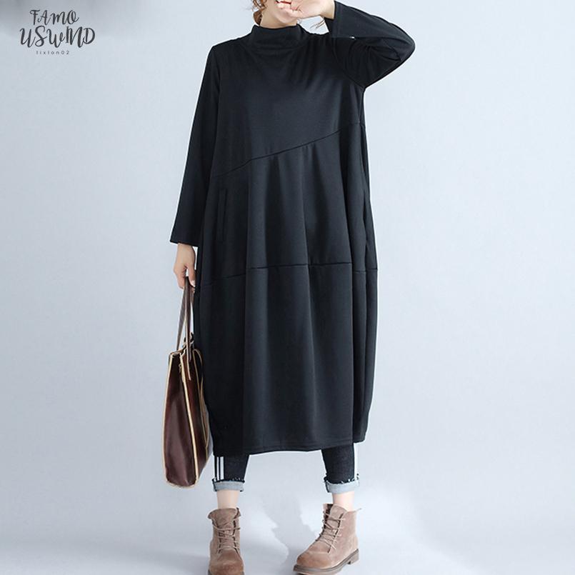 Ladies mulheres vestidos longos gola de algodão elegante Tamanho Vestidos Além disso, roupas femininas plissadas solta 2020 Outono Inverno