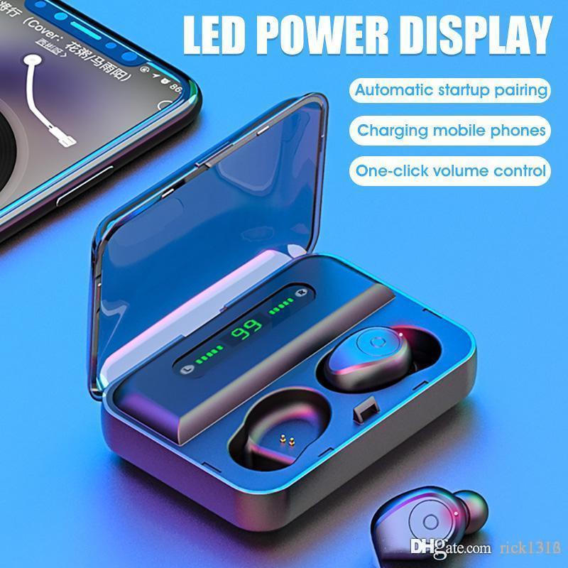 Vitog F9-5 TWS Kulaklıklar Bluetooth LED Ekran 1200mAh Güç Bankası Kulaklık ve mikrofon ile Kablosuz Kulaklık Mini Akıllı dokunmak Earbuds v5.0