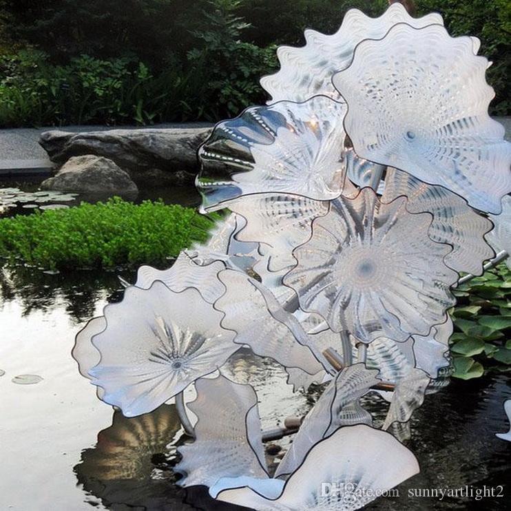 Chihuly Natal Estilo Handmade vidro de Murano flor folhas Lutus placas Parque Aquático Arte Decoração