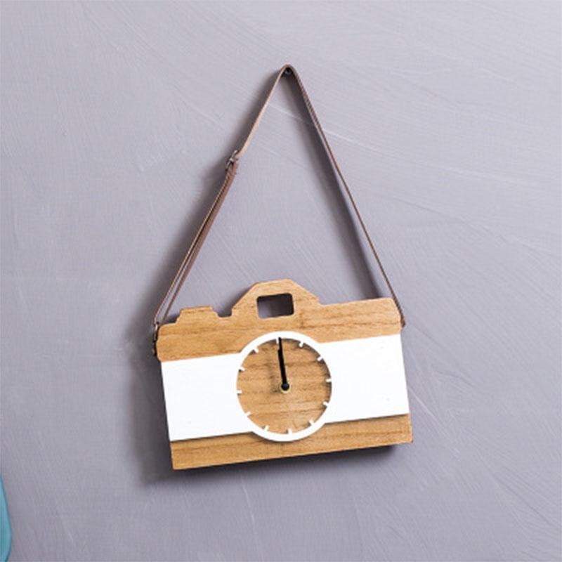 Orologio da parete in legno 24 Orologio da parete in legno bianco nero Paese 3d Piccoli arazzi Art Decor Fotocamera oversize Design moderno