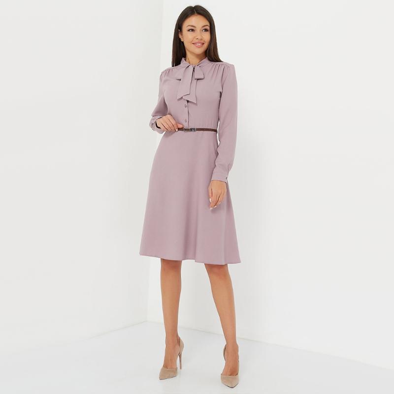 المرأة عادية القوس التعادل طرف خط اللباس السيدات كم طويل أنيق مكتب سيدة اللباس 2019 اللباس موضة جديدة في فصل الشتاء الصلبة خمر T200318
