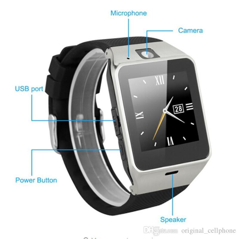 Cartão SIM GV18 Inteligente Relógios com câmera Bluetooth relógio de pulso Smartwatch Para IOS Android Phone hebraico Suporte