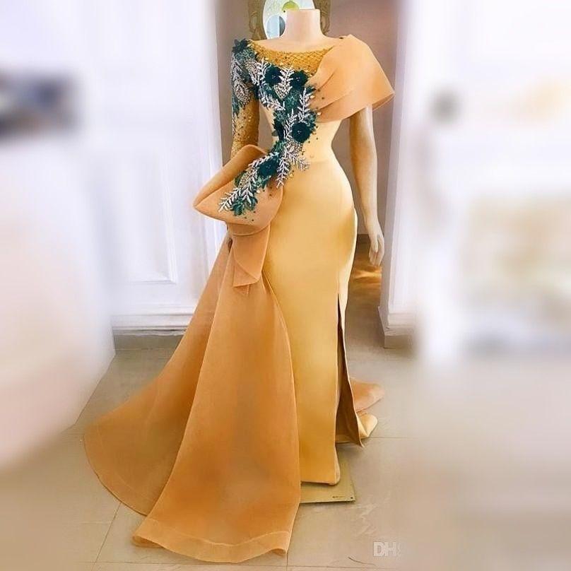 Gold Eine Schulter Prom Kleider Scoop Appliques Blumen Meerjungfrau Abendkleider Side Split Big Bow Dubai Formale Party Kleider