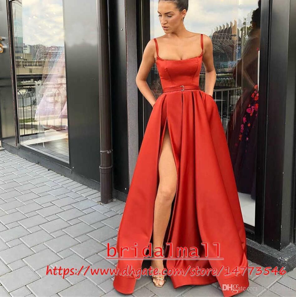 Spaghetti Strap 2019 Red Satin Prom Kleider mit Taschen High Side Split Formale Abendkleider Günstige Graduation Party Kleid Vestido de fiesta