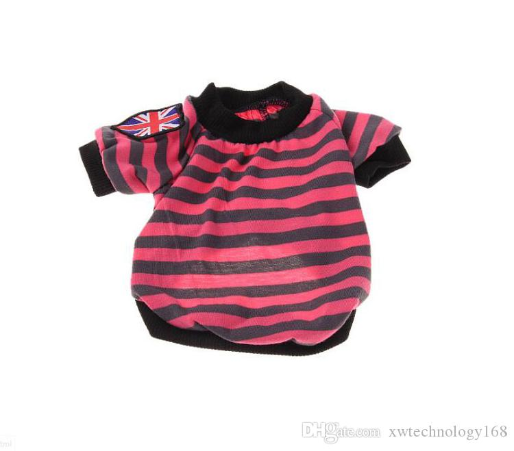 Fashion New Cloth For Dog Soft Cotton Spring Summer T-Shirt Pet Striped Shirt Cloth red,green,pink,blue