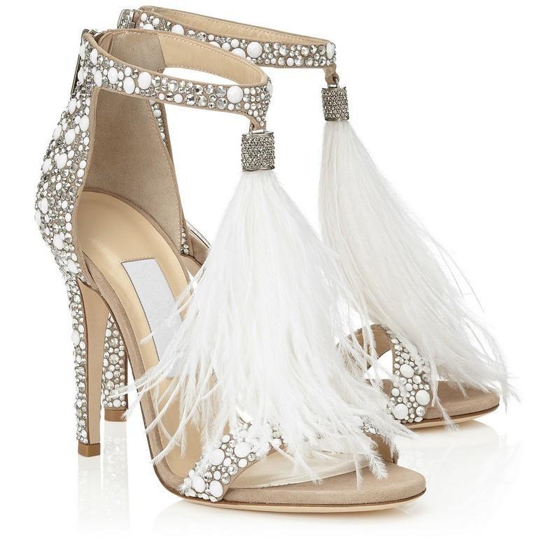 Hot Sale-Hot Cristal Embellished Pena Branca Franjas Rhinestone Sandálias de Salto Alto Sapatos de Casamento Das Mulheres Das Senhoras Bombas Stiletto