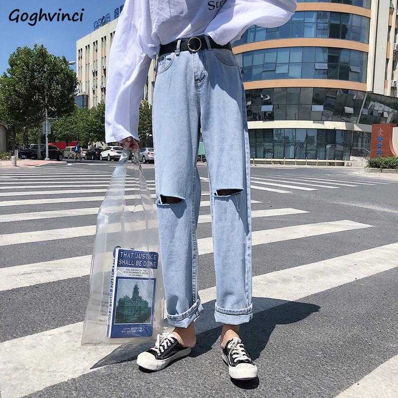 المرأة الجينز المرأة ثقب الكاحل طول السراويل مستقيم المرأة خمر الترفيه الشارع الشهير المتناثرة الهيب هوب أبلى BF الكورية العصرية أنيقة