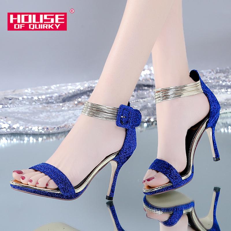 Verão Mulheres Bombas Sexy Abra Toe Super High Heel Sandals Senhoras lantejoulas Fina sapatos de salto única mulher do salto alto Sandalen 2019 T200525