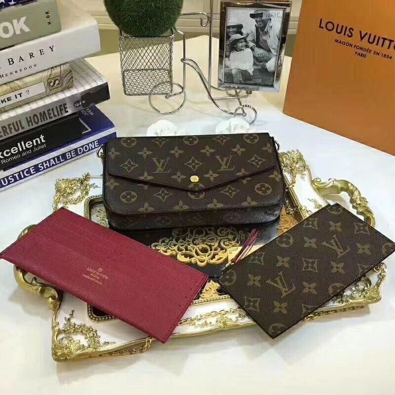 # 685 en cuir véritable Félicie de L Pochette Marque V presbytie femmes Wallet Mode chaîne sac à bandoulière Carte mobile de Pochette de bourse Holder