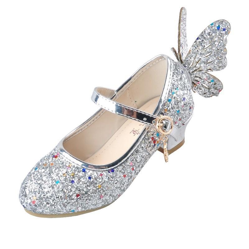 Ulknn Baby Princess Girls Shoes Sandals For Kids Glitter Butterfly Low Heel Children Shoes Girls Party Enfant Meisjes Schoenen J190508