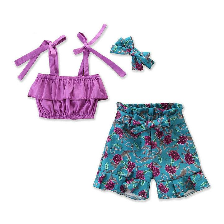 Retail girls boutique outfits summer 3 piece pants set sling tops + floral shorts+bow headband baby tracksuit suits kids designer clothes