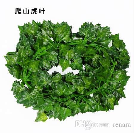 2M 긴 인공 식물 녹색 아이비 잎 인공 포도 덩굴 가짜 Parthenocissus 단풍 홈 웨딩 바 장식 장식