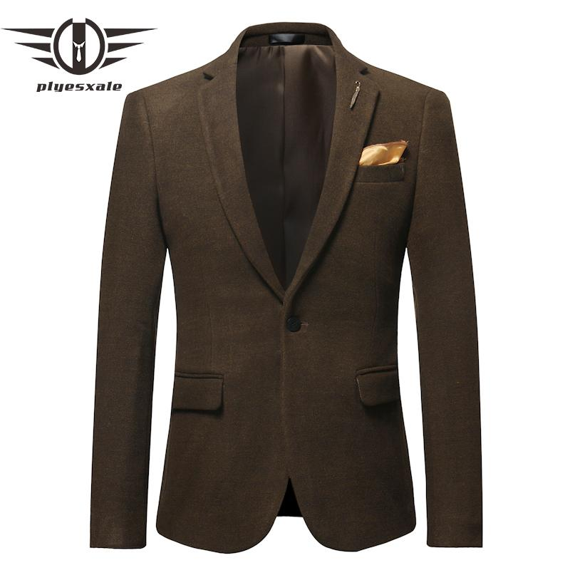 Plyesxale Woolen Blazer Men 2019 Slim Fit Mens Casual Blazer Jacket Green Burgundy Beige Men's Blazers And Suit Jackets Q562
