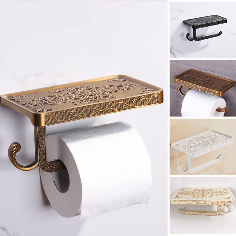 Bronze Sculpture durable bain décor vintage étagères antique salle de bains rack Porte-rouleau de papier toilette étagère murale téléphone mobile Mont Y200108