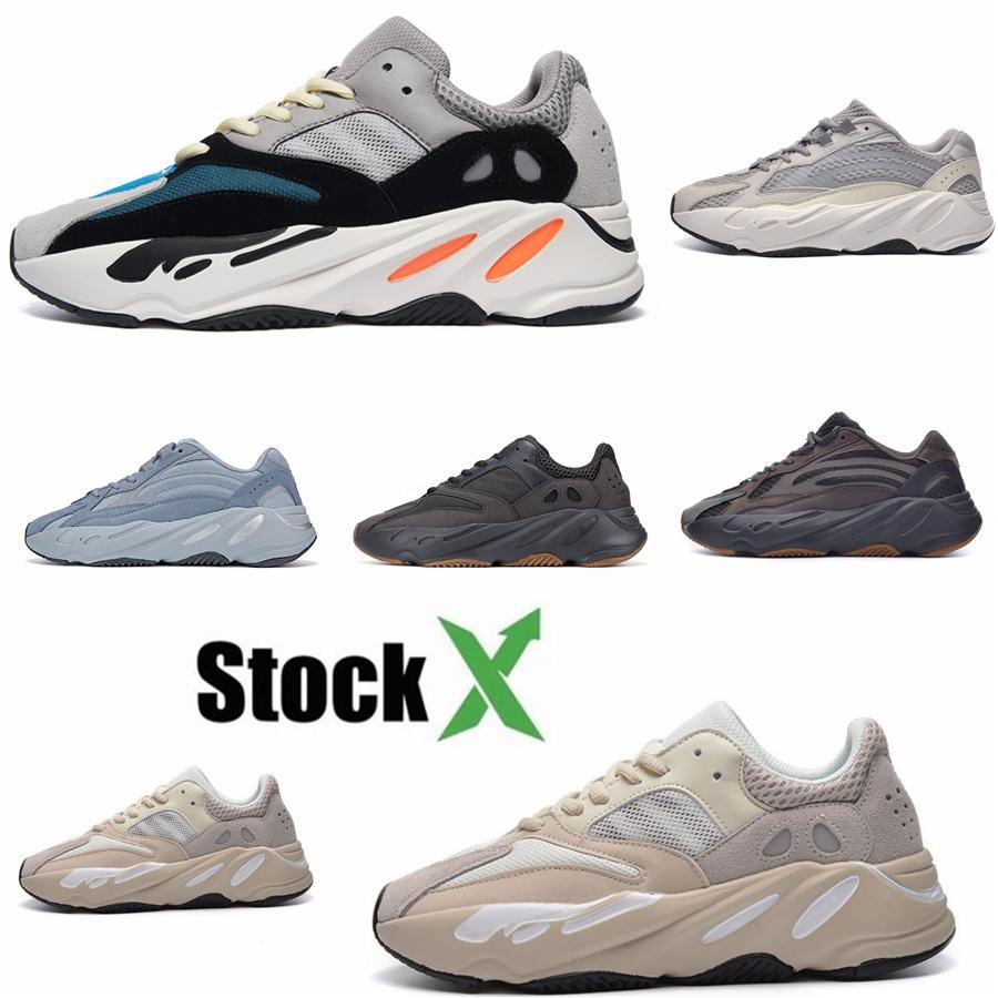 Utilidad Negro 700 V2 Kanye West Geode estática de los hombres de los zapatos corrientes Vanta inercia Wave Runner sólido Tamaño gris Mujeres Deportes zapatillas de deporte 36-46 # 7 QA262