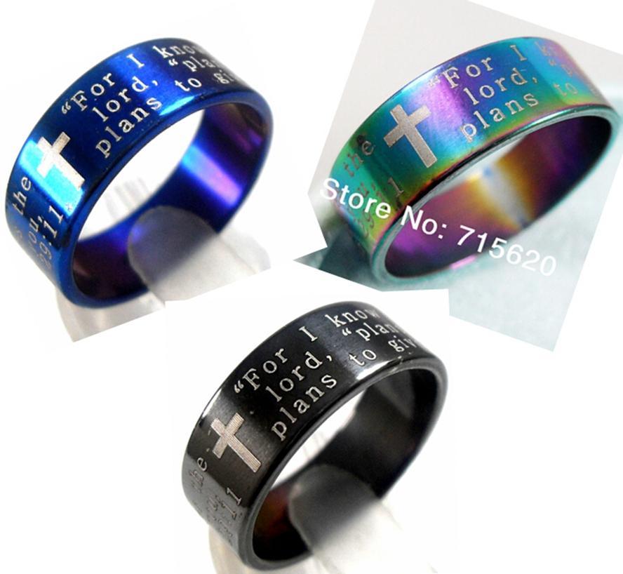50 stücke Jesus Mix Bible Englisch Lords Gebet Edelstahl Ring Großhandel Schmuck Lots Jeremia 29:11