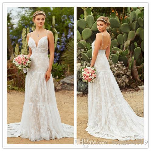 Vestido de Novia Vestidos de Noiva Bohemian Cintas de Espaguete Lace Wedding Dress Vestidos de Noiva Praia Abiti da Sposa