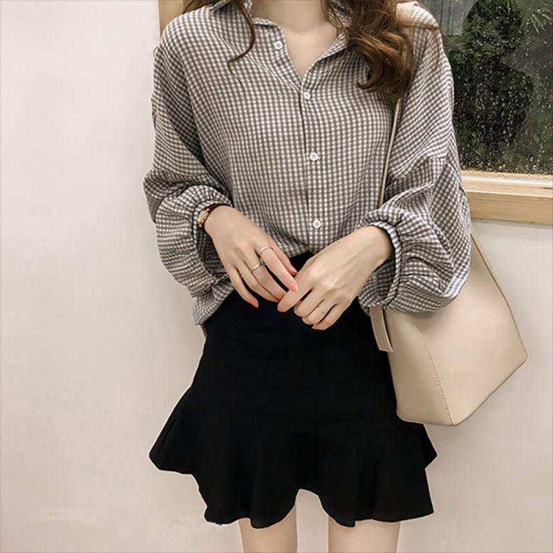 Kadın blusas İlkbahar Sonbahar Bluz Ofis Lady İnce Siyah Gömlek Kadınlar Fener Uzun Kollu Bluzlar Artı boyutu Casual Shirt