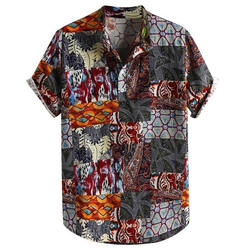 camicetta di cotone lino camicia da uomo maschile KLV Mens Vintage Etnica Stampato gira giù manica corta tunica Allentare camice casuali