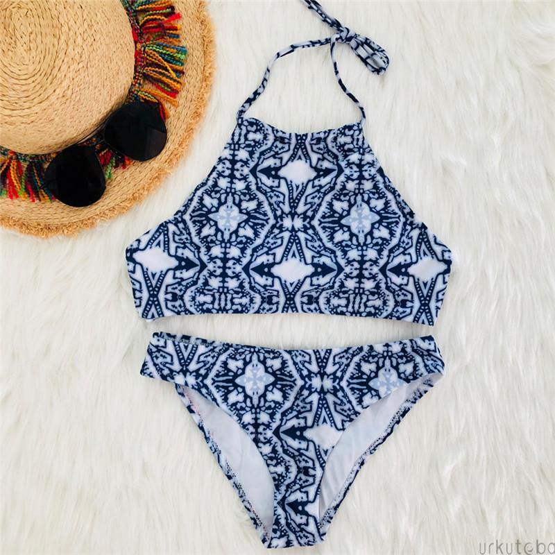 الأزرق الزهور بيكيني 2019 امرأة مثير ضمادة دفع ما يصل بيكيني قطعتين المريلة المايوه للملابس المرأة شاطئ سيدة ثوب السباحة