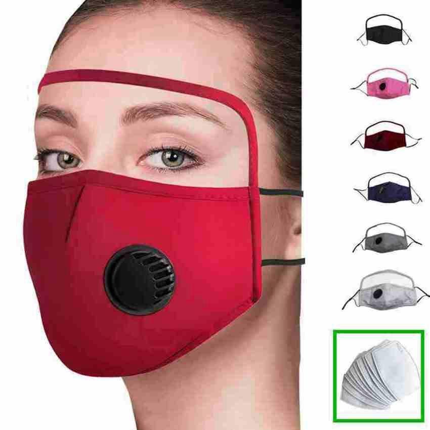 Antipolvere in 1 protezione 200pcs con protezione per gli occhi 2 valvola di cotone ciclismo Zza2432 faccia lavabile riutilizzabile maschera viso scudo viso maschera maschera maschera hnea