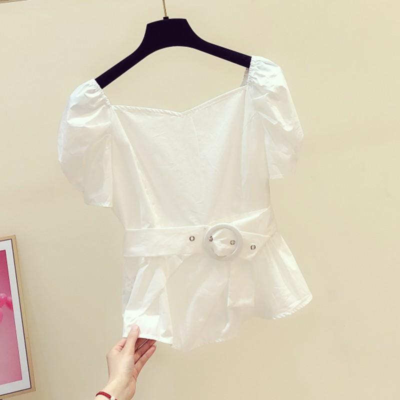 design de moda mulheres de colarinho quadrado blusa de verão 2020 de manga novo sopro babados finos senhora puxa elegantes outwear topos