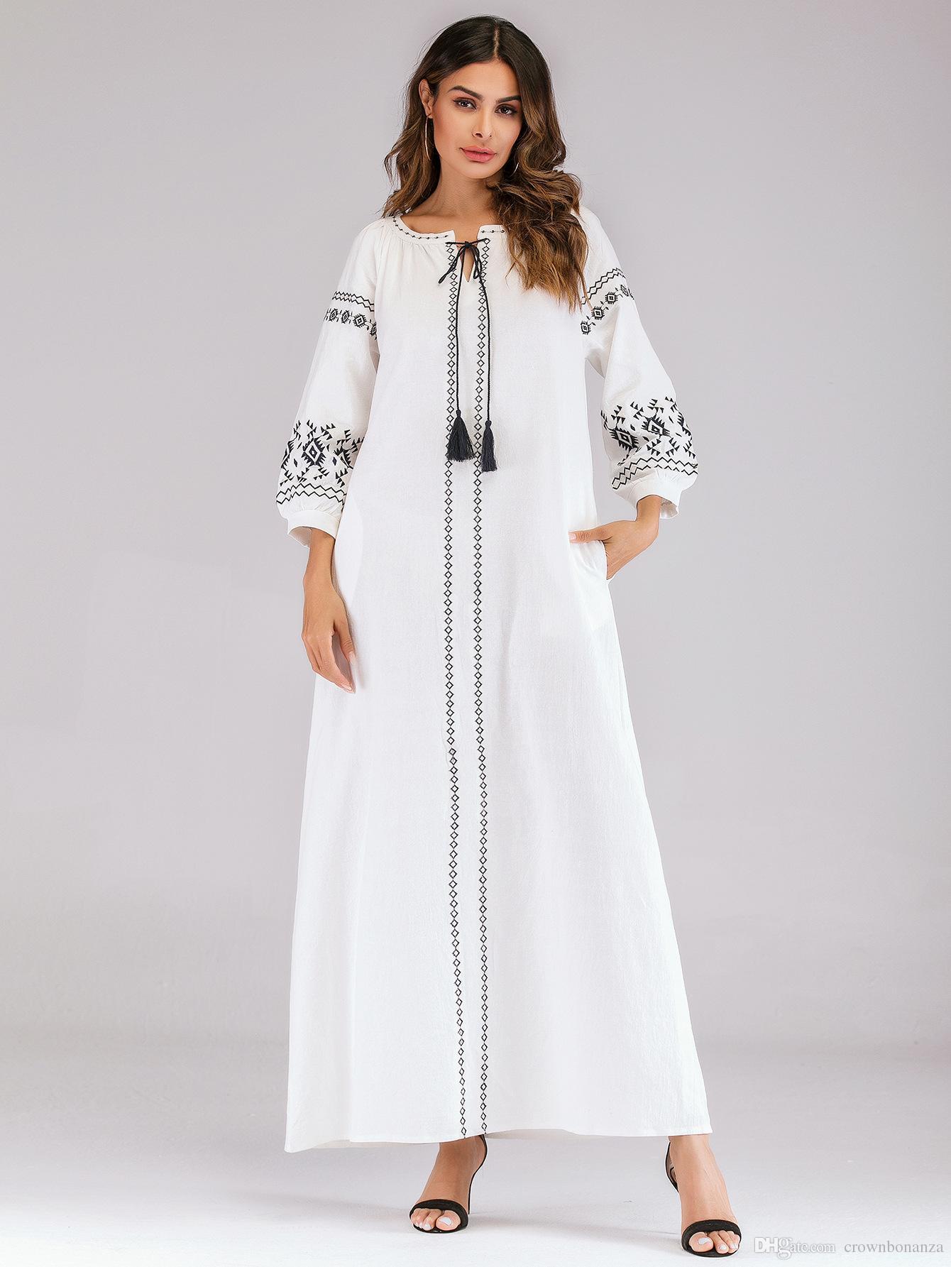 b21d4ba4d239 Women Cotton Linen Long Sleeve Maxi Dress Ladies Loose Bohemia White Dress  Elegant Floral Embroidery Maxi ...