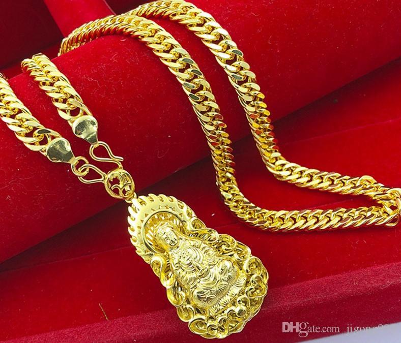 oro amarillo de moda llena kuanyin bendecir a los hombres collar colgante de alta gama envío libre tamaño (60 cm)