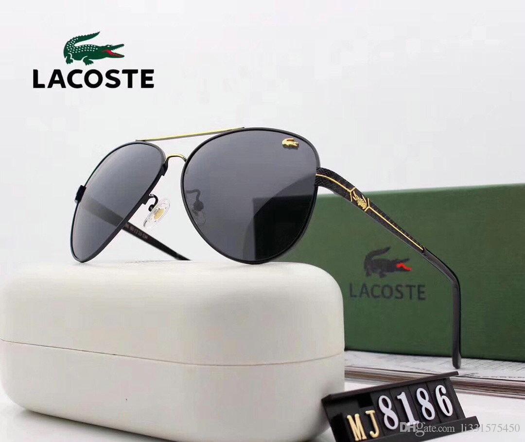 남성 LACOS 남성 선글라스 디자이너 선글라스 태도 악어 선글라스 대형 태양은 사각형 프레임 야외 멋진 남성 안경 안경