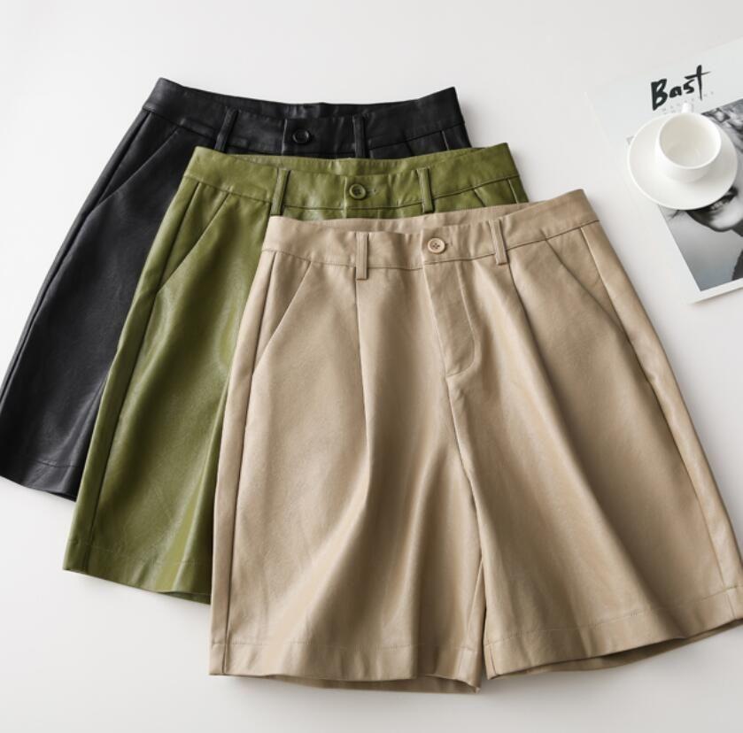 Toppies 2020 neue PU-Leder-Shorts mit hoher Taille und Bermuda Shorts Kunstleder lose Shorts CX200617