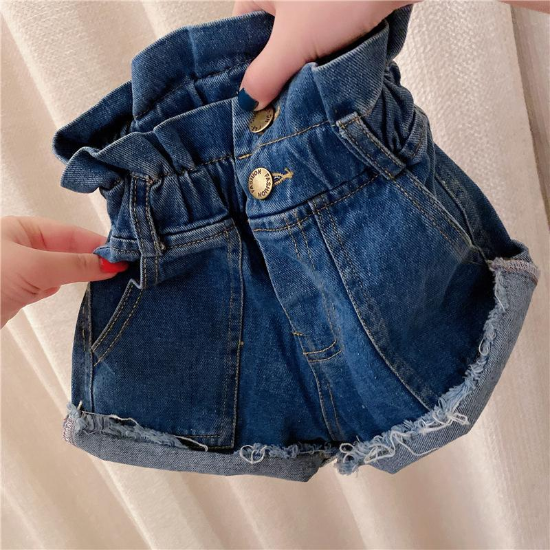 Art und Weise scherzt Denim heiße Shorts 2020 Sommer neue Mädchen der hohen Taille der kurzen Jeans Kinder durchlöchern Quaste lässigen Cowboy kurze Hosen kräuseln A2397
