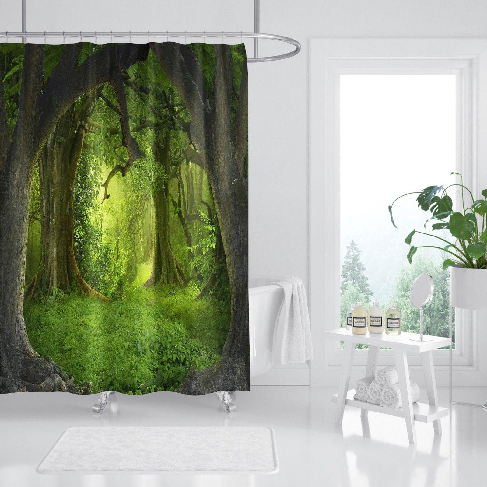 2019 3d Dark Green Tree Shower Curtain Durable Fabric Mildew Bathroom Accessories Creative With 12 Hooks 180x180cm From Zhouyueli222 19 0