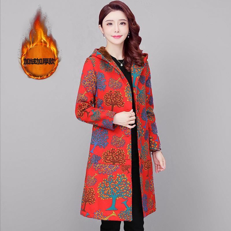 inverno della peluche di stampa Etnica 2019 nuova Cina delle donne cappotto con cappuccio esteso cappotto caldo