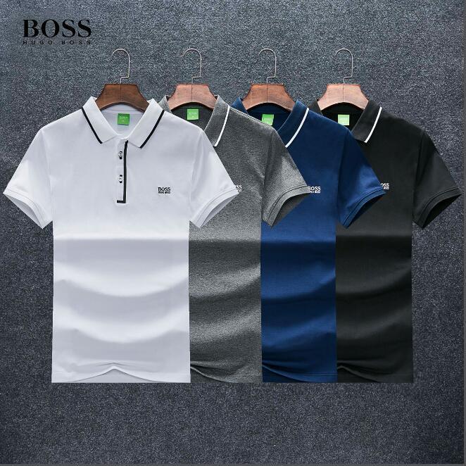زعماء رجال المصممين بولو تي شيرت الأزياء الأعمال الماركات رسالة التطريز بولو هوغو المحدودة لون الصلبة عالية الجودة مخصصة قميص B011