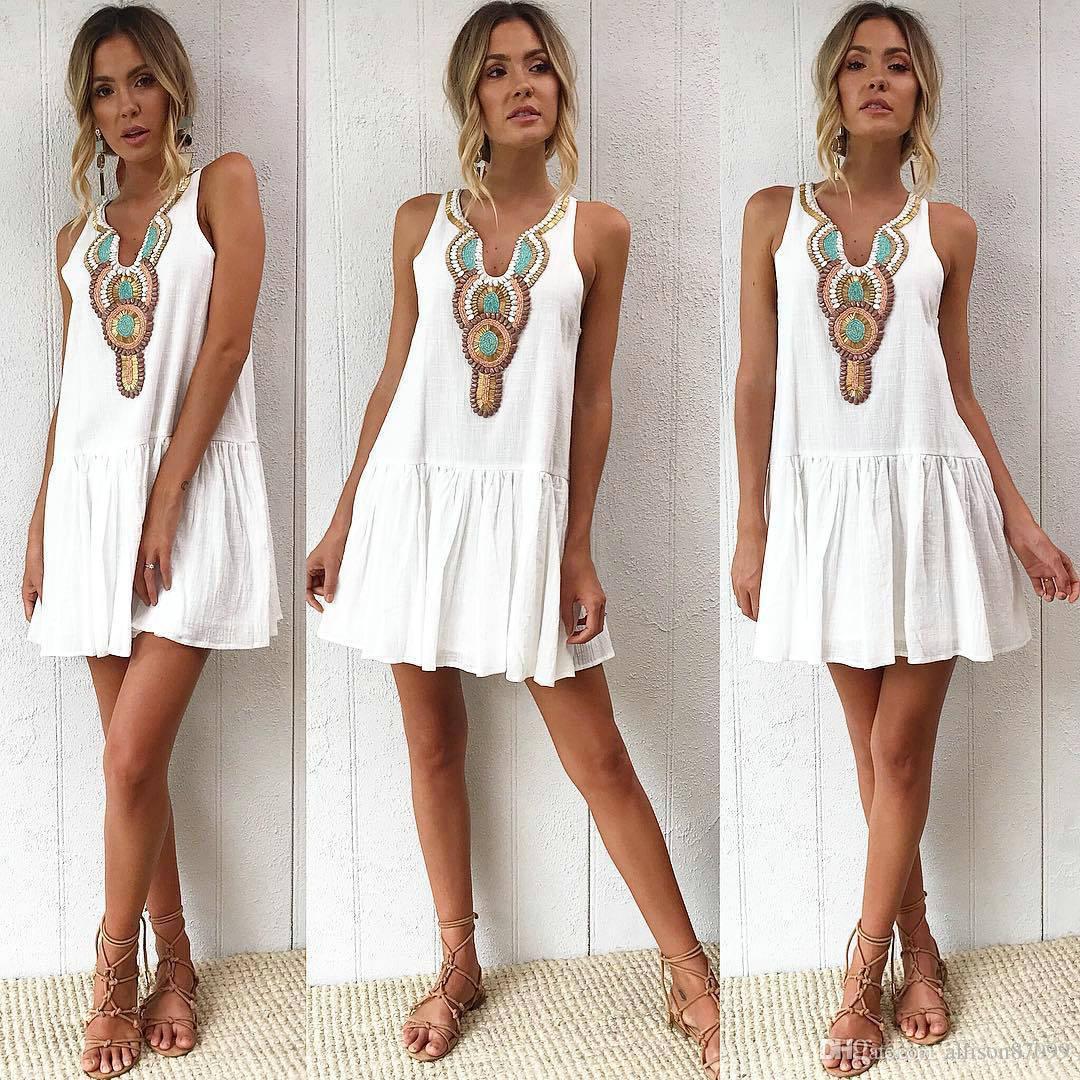 Cheap Summer Women clothes Bohemia Print Beach Dresses Loose Sleeveless Free DHL China manufacturer